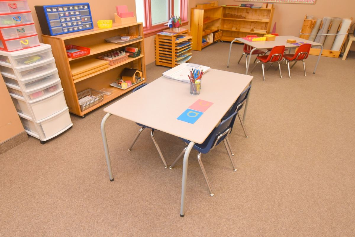 top view of table and chairs in a classroom