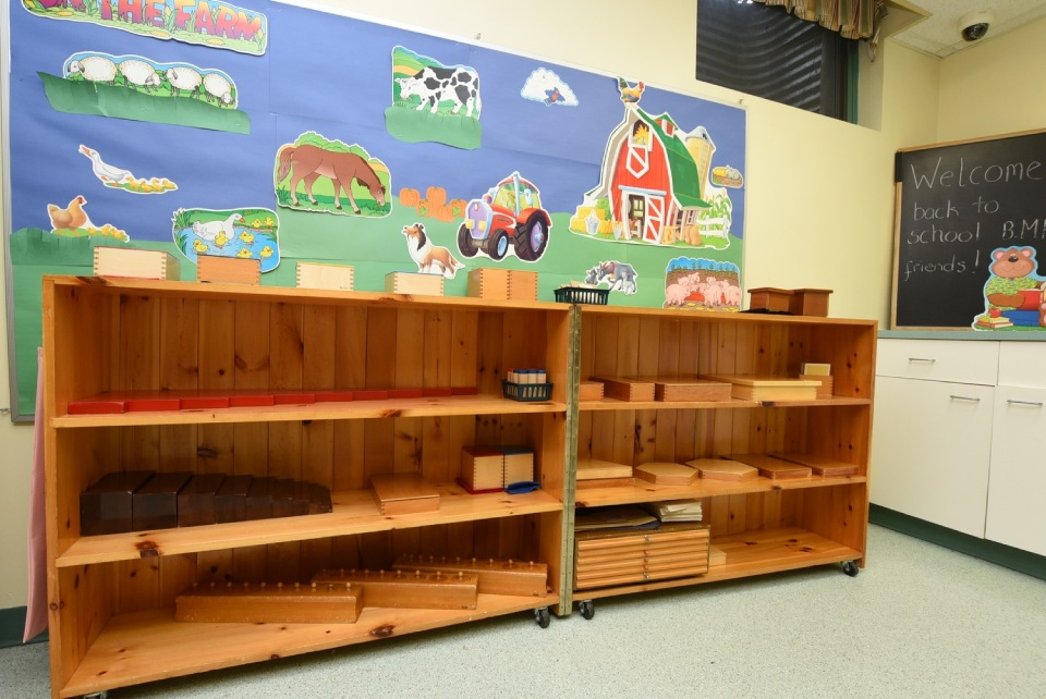 open book shelves in the classroom