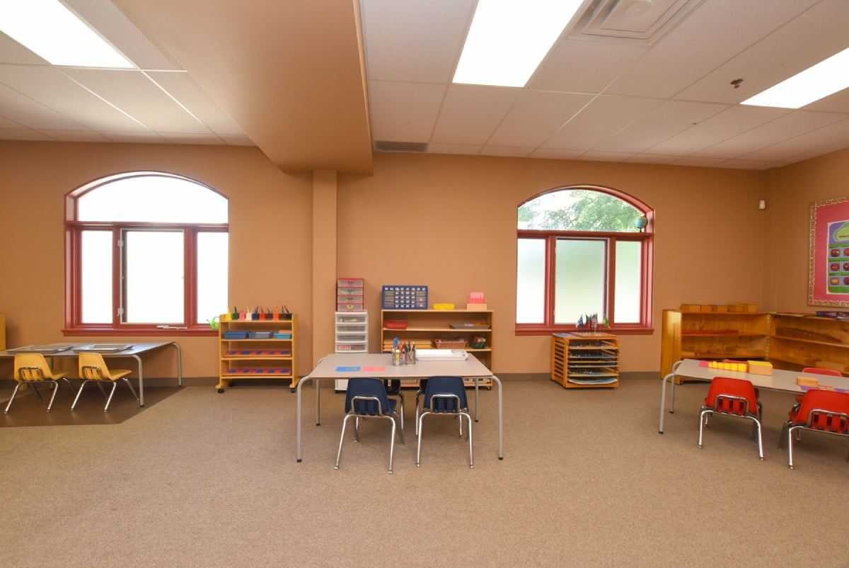 classroom with 2 large windows